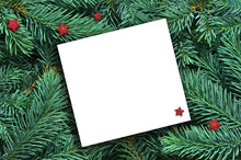 Background Of Many Green Christmas Tree Branches And Paper For Text.