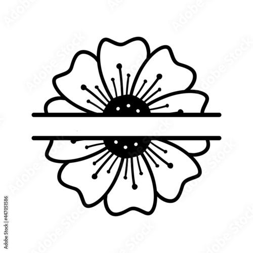 Foto Vector illustration of hand drawn anemone flower split monogram isolated on white background