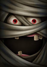 Scary Face Of Mummy Banner For Halloween