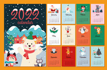 2022 Year Calendar Template With Winter Christmas Cover, Cozy Night Village Landscape, Cute Polar Bear In Hat, Fox In Scarf, Owl Animals Characters. Vector Flat Cartoon Illustration.