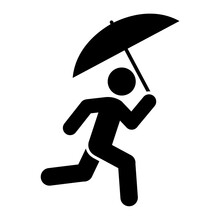 Man With Umbrella Icon People In Motion Active Lifestyle Sign