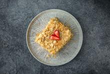 Napoleon Cake. Dessert. Ready Menu For The Restaurant. Neutral Gray Blue Textured Background.