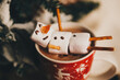 happy snowman in hot chocolate