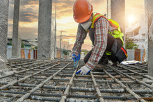 Construction Worker,Builder Checking His Buildings Or Foundation