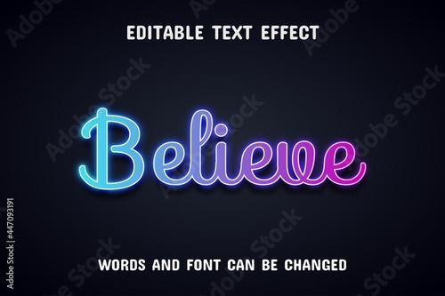 Leinwand Poster Believe text, neon text effect
