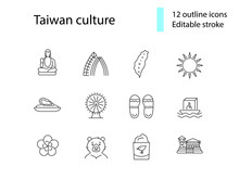 Taiwan Culture Outline Icons Set. Taiwanes Attractions. Buddha, Formosan. Editable Stroke. Isolated Vector Illustration