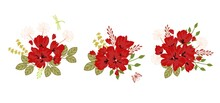 Vector Bouquets Of Poppies. Stickers Or Banners For Decoration And Design.