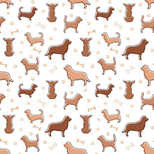 Pattern With Dog Silhouettes, Bones And Paw Prints In Doodle Style And One Line With Colored Brown And Beige Spots.