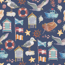 Sea Seagull Birds Ship Flags Seashore Houses Steering Wheel Cruise Journey. Patern Seamless Print Textile Vintage Retro Watercolor Hand Drawn Illustration