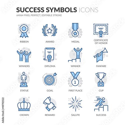Slika na platnu Simple Set of Success Related Vector Line Icons