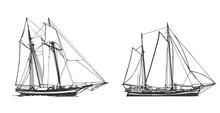 Sailing Ship, Graphic Hand Drawing. Sea Or River Transport, An Isolated Object. Vector Illustration