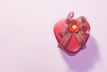 Heart Shaped Box With A Ribbon