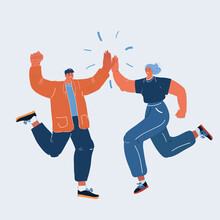Vector Illustration Of Man And Woman Congratulating Each Other. Giving A High Fives Gesture With Their Hands As They Celebrate A Business Success