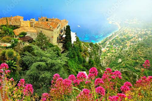 Платно French Riviera aerial view of the hilltop village of Eze with flowers and mist,