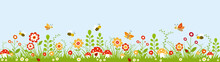 Panoramic Colorful Garden With Flowers, Mushroom, Bees And Butterflies.