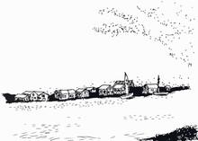Häuser Am Fjord, Illustration