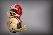Vintage Boys Football Helmets And Leather Shoulder Pads