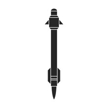 Ballistic Missile Vector Icon.Black Vector Icon Isolated On White Background Ballistic Missile.