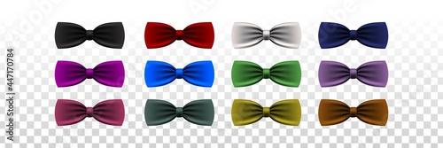 Foto Vector set of realistic isolated colorful bow tie for photo decoration on the transparent background
