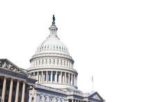 Congress Capitol Building Of USA Is  Isolated On White Background In Washington DC