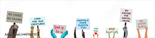 Fotografia Animals holding protest signs to stop animal cruelty and abuse