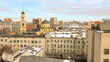 Moscow old town panorama on a white winter day