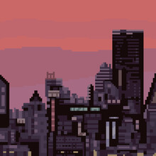 Pixel Art City Building Sunset