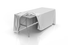 3D Illustration Of A Table Cloth Draped Over A Trestle Table With A Plastic Top And Steel Frame. Perspective View Of Table Cloth Pulled Up To Show The Table Under Neath. Mockup Or Illustration