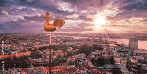Canvas Beautiful aerial view of the city from above with a golden cock in the middle