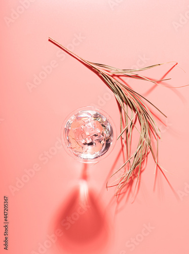 Tela Martini with ice elegant glass against a pink background a branch palm plant