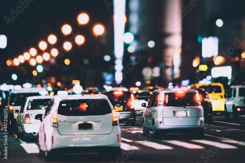 Fototapeta 夜の交通道路