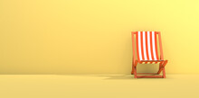 Folding Chair With Orange Stripes On Yellow Background. Summer Concept. 3D Rendering. Copy Space.