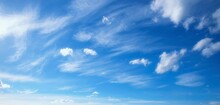 Blue Sky With Softness Of Fluffy Clouds Beautiful Sky In Windy Weather,background