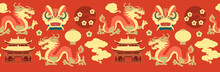 China Seamless Pattern With Dragon, Pagoda, Clouds, Lantern And Flowers. Traditional Chinses Style.