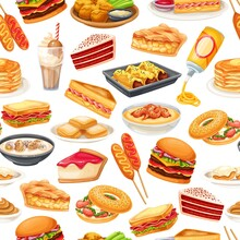 American Food Seamless Pattern, Vector Illustration. Corn Dog, Clam Chowder, Blt, Sandwich And Buffalo Wings. Red Velvet Cake, Grits, Monte Cristo Sandwich, Pancakes, Maple, Spray Cheese And Ets