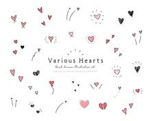 手描きのハートのイラストのセット アイコン 手書き 飾り 装飾 落書き かわいい バレンタイン