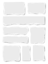 Vector Vertically Placed Set Of Paper Different Shapes Scraps Isolated On White Background