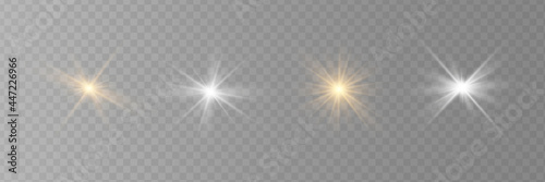 Slika na platnu Vector transparent sunlight special lens flare light effect.