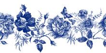 Vintage Seamless Pattern With Roses Flower Line Graphics. Fashion Textile Design Indigo Color.