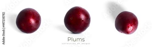Obraz na plátně Plums isolated on a white background. Plum fruit.