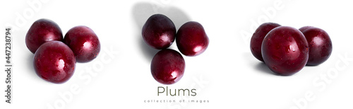 Fotografie, Obraz Plums isolated on a white background. Plum fruit.
