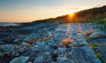 Beautiful Orange Sunset Scenery Of Rocky Coast At Wild Atlantic Way In Barna, Galway, Ireland