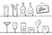 色々なお酒の線画素材セット