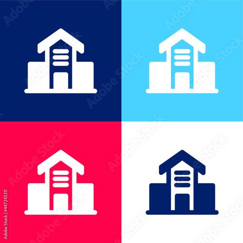 Fotografie, Obraz Architecture Building blue and red four color minimal icon set