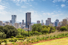 Pretoria Cityscape Across The Parklands Of The Union Buildings. Pretoria Is One Of South Africa's Three Capital Cities And Is The Administrative Capital.