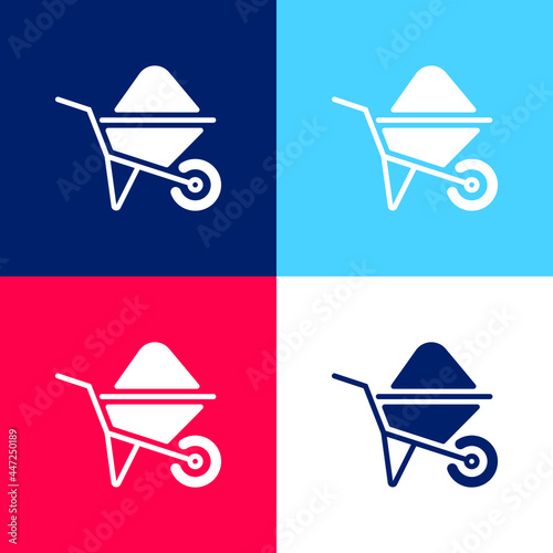 Photo Barrow blue and red four color minimal icon set