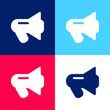 Black Megaphone Blue And Red Four Color Minimal Icon Set