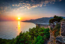 Alanya Castle With The Defensive Walls Of At Sunset. Turkey