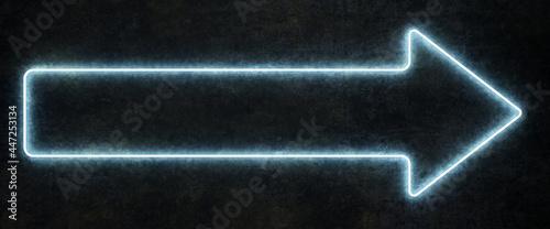 Tela long neon arrow on black background