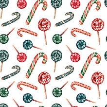 Seamless Pattern With Red And Green Lollipops And Candy Canes. Very Colorful, Juicy And Appetizing For The Holiday And New Year. For Wrapping Paper, Gift Bags And Festive Decor. Watercolor.